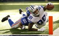 Republicans will have to convince voters that Donald Trump coming up short of the goal line for delegates isn't a score any more than when wide receiver Dez Bryant was tackled just short of a touchdown in this 2014 Dallas Cowboys game. (Tom Fox/The Dallas Morning News)