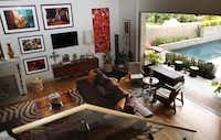 The living room leading to the backyard at the home of D'Andra Simmons and Jeremy Lock in Dallas.