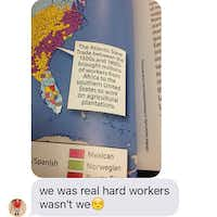 A passage from a McGraw-Hill geography textbook sent from a Pearland 15-year-old to his mom, Roni Dean-Burren.(Courtesy of Roni Dean-Burren )