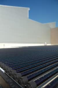Solar panels line one of the roofs at the new Lady Bird Johnson Middle School in Irving.