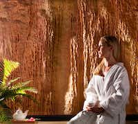 Tranquility is the name of the room where guests can begin and end spa time at Barton Creek Spa. The view takes in limestone cavern walls, rutted by the steady drip of spring water.