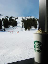 Stop in for a warm beverage at the ski-in Starbucks  at Squaw Valley in California.
