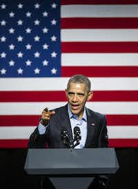 President Barack Obama speaks at a Democratic National Committee event at Gilley's Club Dallas on Saturday, March 12, 2016 in Dallas. (Ashley Landis/Pool photo, The Dallas Morning News)