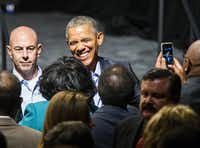 President Barack Obama greets people in the crowd after speaking at a Democratic National Committee event at Gilley's Club Dallas on Saturday, March 12, 2016 in Dallas. (Ashley Landis/Pool photo, The Dallas Morning News)