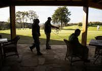 Secret Service roped off a patio at Dallas National Golf Club before President Barack Obama, NFL Hall of Fame member Emmitt Smith, former Dallas mayor Ron Kirk lawyer Peter Kraus played the 18th hole on Saturday, March 12, 2016 in Dallas. (Ashley Landis/Pool photo, The Dallas Morning News)