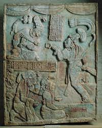 Presentation of Captives to a Maya Ruler Maya culture, Usumacinta River Valley, Mexico; Late Classic period, c. ad 785 Limestone with traces of paint; 453⁄8 x 35 in. (115.3 x 88.9 cm) Acquired in 1971
