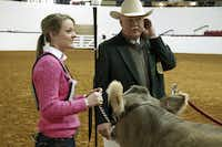 Jessica Johnston with the Broken Oak Ranch out of Seguin and Livestock Superintendent Mike Sands listen to numbers called for the next round at Watt Arena. Johnston won her class with Lola Junior, an 8-month-old heifer.(Ron Baselice/Staff Photographer)