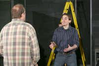 """Montgomery Sutton (right) rehearses a scene from """"The Ugly One"""" with Ted Wold  at the WaterTower Theatre in Addison."""