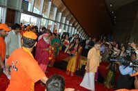Sri Ganapathy Sachchidananda Swamiji attends the North America Telugu Society Conference at the Irving Convention Center.