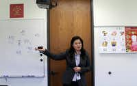 Mandarin Chinese teacher Janet Lin leads a class at the Westwood School.