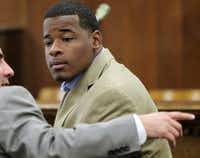 Tevin Elliott in court in Waco on Jan. 23, 2014. (Jerry Larson/Waco Tribune-Herald)