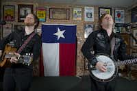 Taylor Young, left, and John Pedigo of The O's pose for a portrait at AllGood Cafe in Deep Ellum.