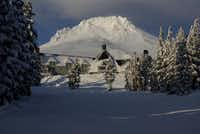 Timberline Lodge in Oregon is on Mount Hood. The dormant volcano occasionally has tremors and steam coming from fumaroles.Timberline Lodge