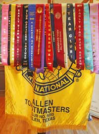 Toastmaster ribbons are on display during the Allen Toastmasters weekly meeting.( Staff photo by LOUIS DELUCA  -  DMN )