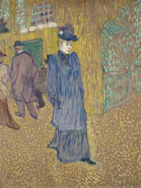 Henri de Toulouse-Lautrec, Jane Avril Leaving the Moulin Rouge, 1892. Essence on board; 33-3/4 x  27-1/2 in. Wadsworth Atheneum Museum of Art; Bequest of George Gay.