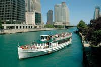 Chicago's First Lady leaves for a morning tour on the Chicago River.