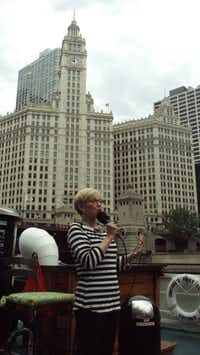 Leslie Lewis, a docent for the Chicago Architecture Foundation, describes the Wrigley Building, built in 1920 and the first major office building constructed north of the Chicago River.