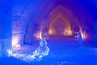 Sculptures carved from ice grace the Grand Hall at Hôtel de Glace.  Much of the art here is sponsored by supporting businesses.