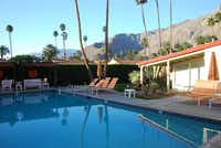 The San Jacinto mountains form a stunning backdrop to the pool area at the Del Marcos Hotel. A trail up the mountains with spectacular views over Palm Springs begins just a few blocks from the hotel.
