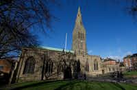 The remains of King Richard III will be re-interred at Leicester Catherdral in keeping with archaeological practice to bury remains on the nearest consecrated ground. The cathedral was begun 900 years ago as a parish church.