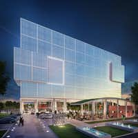 Two Arts Plaza is envisioned as a slick multi-level office project covered in high-tech glass with a ceramic coating.