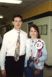 Kyle Morrill, then the coach of the TCA girls varsity basketball team, and Sue Morrill attend a state championship game in 1994. Though the team didn't win that year, Kyle Morrill led the school to a state victory in 2001.( Photo submitted by KYLE MORRILL )