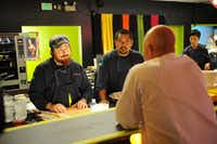 "Josh Valentine (left) and Sheldon Simeon made a tempura yuzu curd that was supposed to taste ""like a little temper tantrum in your mouth,"" said Josh. Judge Tom Colicchio didn't like it.(David Moir - Bravo)"