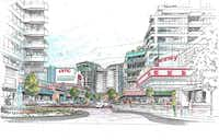 An artist's rendering offers developers' vision of what Dallas Midtown could become.
