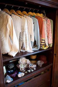 Because so much of her wardrobe is vintage-style and romantic feeling like the bedroom's decor, Jennifer keeps the doors to her armoire open.