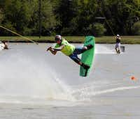 John Deer practices his skills at Hydrous Wake Park in Allen.