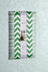 A light switch covered in washi tape done by Cassie Freeman of Plano