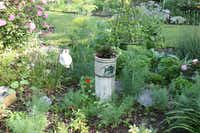 Because she wanted to allow young grandsons to taste in the garden, Arlene Hamilton created this island of edible plants, which remains mostly herbs today.
