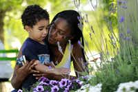 Hosea Berrios, 2, and mother Shayla Berrios, from DeSoto, enjoy the warm weather while visiting Klyde Warren Park.