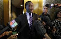 Dallas County District Attorney Craig Watkins talks to the media after the bond reduction hearing for Josh Brent on Tuesday.