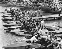 Speedboat races were popular at White Rock Lake until the city council passed an ordinance prohibiting boats with motors generating more than 10 horsepower. This picture was taken in 1938.