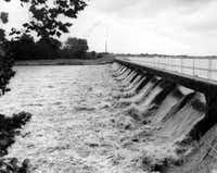 White Rock Lake spillway, August 1947. At that time, a catwalk ran across the top of the spillway.