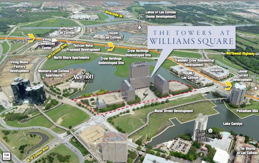 Las Colinas centerpiece Williams Square in Irving is up for grabs