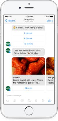 By sending a tweet or a Facebook message to Wingstop, hungry customers can order wings without opening another app. (Conversable)