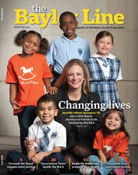 Jennifer Sampson was featured on the cover of the Baylor alumni magazine after being named a 2013 Baylor Distinguished Alumni Award recipient.