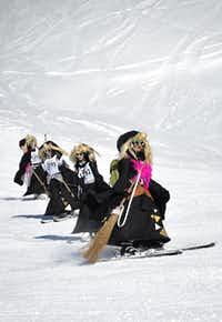 Participants take part in the 30th edition of the Belalp Witches Ski Race on January 14, 2012 in Belalp, Switzerland.