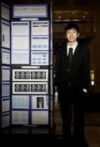 Jasper High School freshmen David Yue, 14, is one of 30 national finalists in the Broadcom MASTERS, a national science, technology, engineering and math competition for U.S. sixth, seventh and eighth graders. Yue placed first in Texas in the math sciences portion of the science fair(Andy Jacobsohn - Staff Photographer)