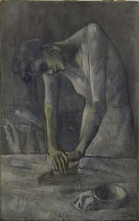 """Picasso's """"Woman Ironing,"""" from the Solomon R. Guggenheim Museum in New York, Thannhauser Collection, clearly shows the influences of El Greco."""