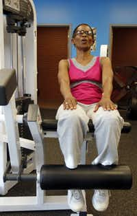 Re Richardson, a member of Oak Cliff Bible Fellowship, expresses herself as she exercises.