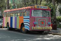 Textile artist Magda Sayeg of Knitta, Please in Austin  installed this yarn bomb on a Mexico City bus in 2008.