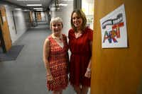 Kelly Williams (right), Shugart Elementary School principal, and Brenda Hass, Garland ISD fine arts coordinator, stand in the school's new art room in Garland. Garland ISD approved a plan to expand its art program to include 47 elementary schools.Rose Baca - Neighborsgo