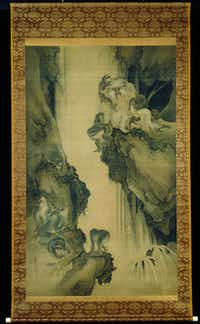 Shibata Zeshin, Japanese (1807–1891) Waterfall and Monkeys, c. 1872 Hanging scroll; ink and light colors on silk; 73 7/8 x 44 ¾ in. (187.7 x 113.7 cm) Acquired in 1984